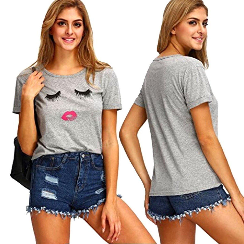 74db81832d Sunfei Womens Ladies Eyelash Printing Summer Loose Tops Short Sleeve Blouse  T Shirt
