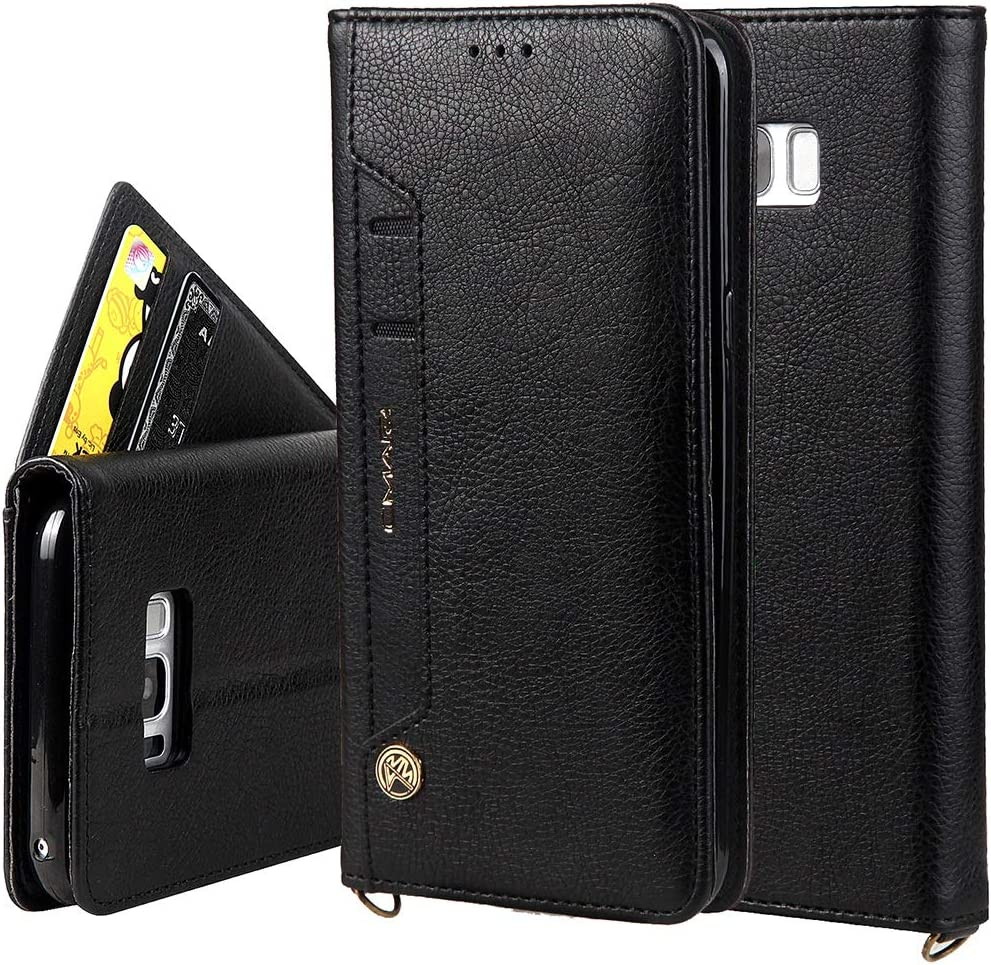 ZENGMING Phone Case Case for iPhone Samsung Galaxy S8 Plus Wallet Case,Premium PU Leather Credit Card Holder and Money Slot Case with Kickstand Flip Cover (TPU Inner Protective Cover) (Color : Black)