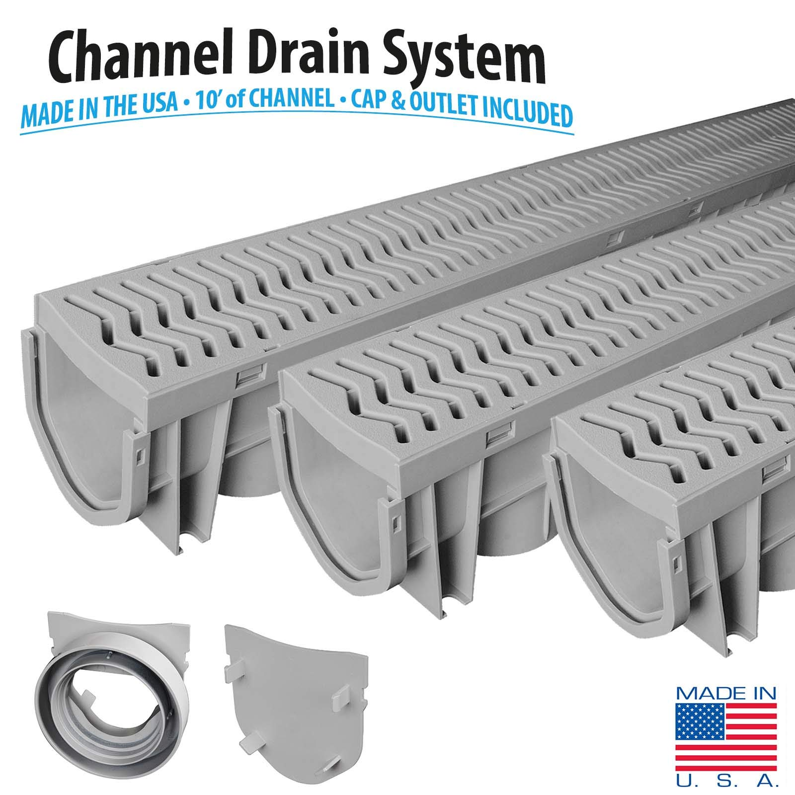 Source 1 Drainage 3-Pack Trench & Driveway Channel Drain System With Grates by Source 1 Drainage (Image #2)
