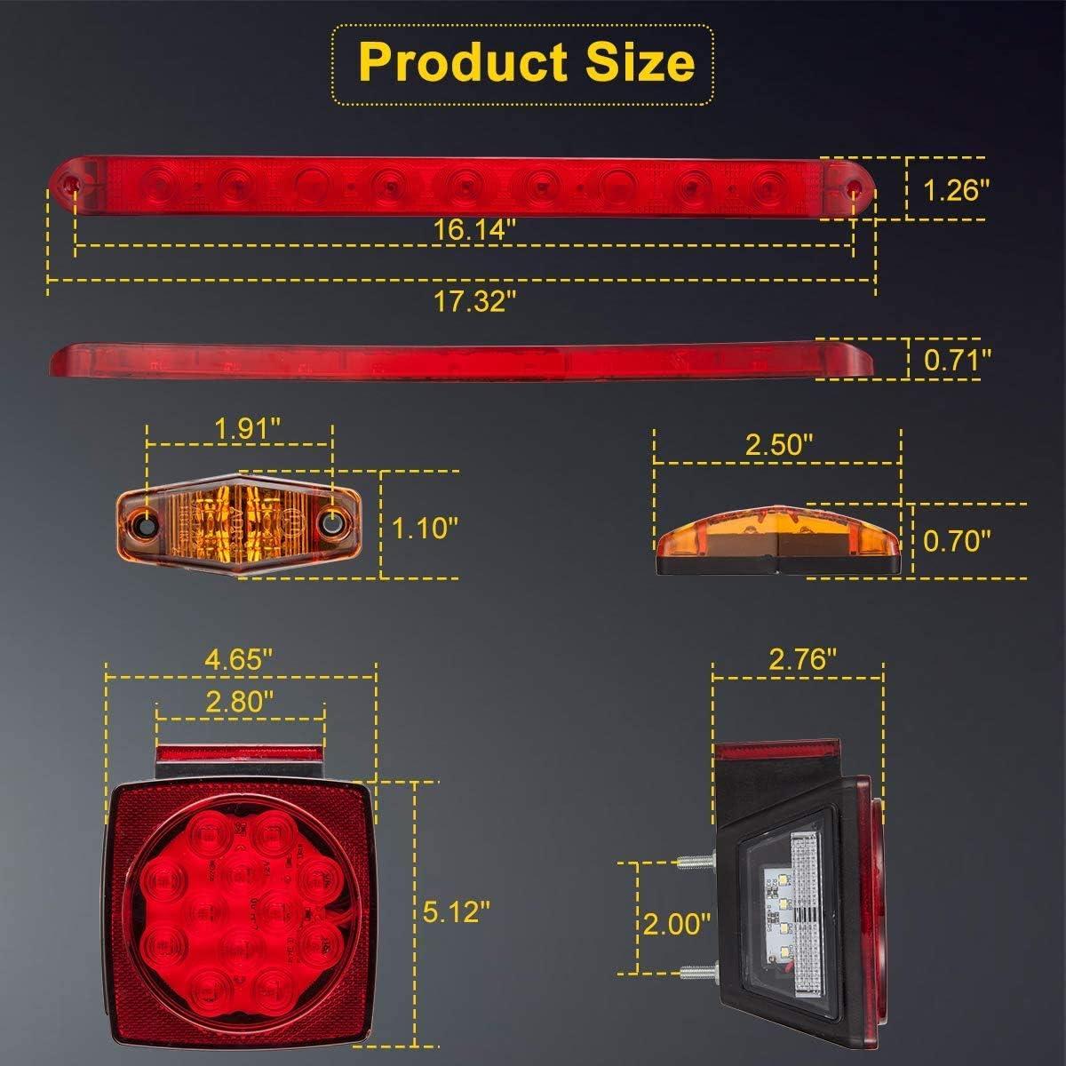 12V LED Trailer Lights Kit Waterproof Square Stop Turn Tail Truck Lights w//Wire Harness /& Bracket Red//Amber Side Fender Marker Lamps 3rd Brake ID Light Bar for Trailer Boat Camper Snowmobile RV