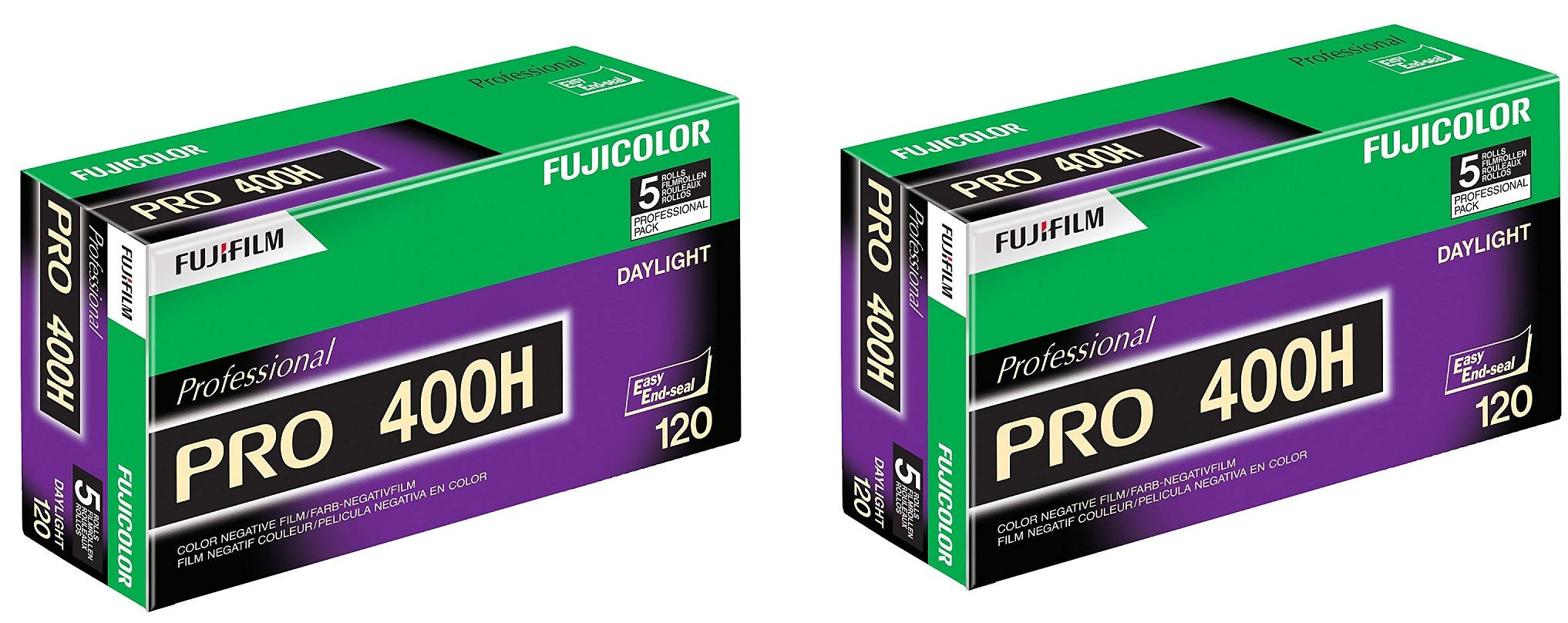 16326119 Fujicolor Pro 120, 400H Color Negative Film ISO 400-10 Roll Pro Pack (Green/White/Purple)