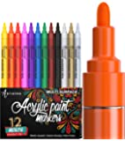 Paint Pens for Rock Painting, Ceramic, Porcelain, Glass, Wood, Fabric, Canvas. Set of 12 Acrylic Paint Markers Medium…