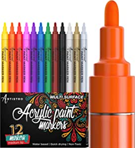 Wood Metal Porcelain Waterbased Fabric Mugs Quick Drying Canvas Non Toxic Detailing Colorful Art Painting Markers Pen,Glass DIY Projects Wlnnes Acrylic Paint Pens Markers Set for Rock