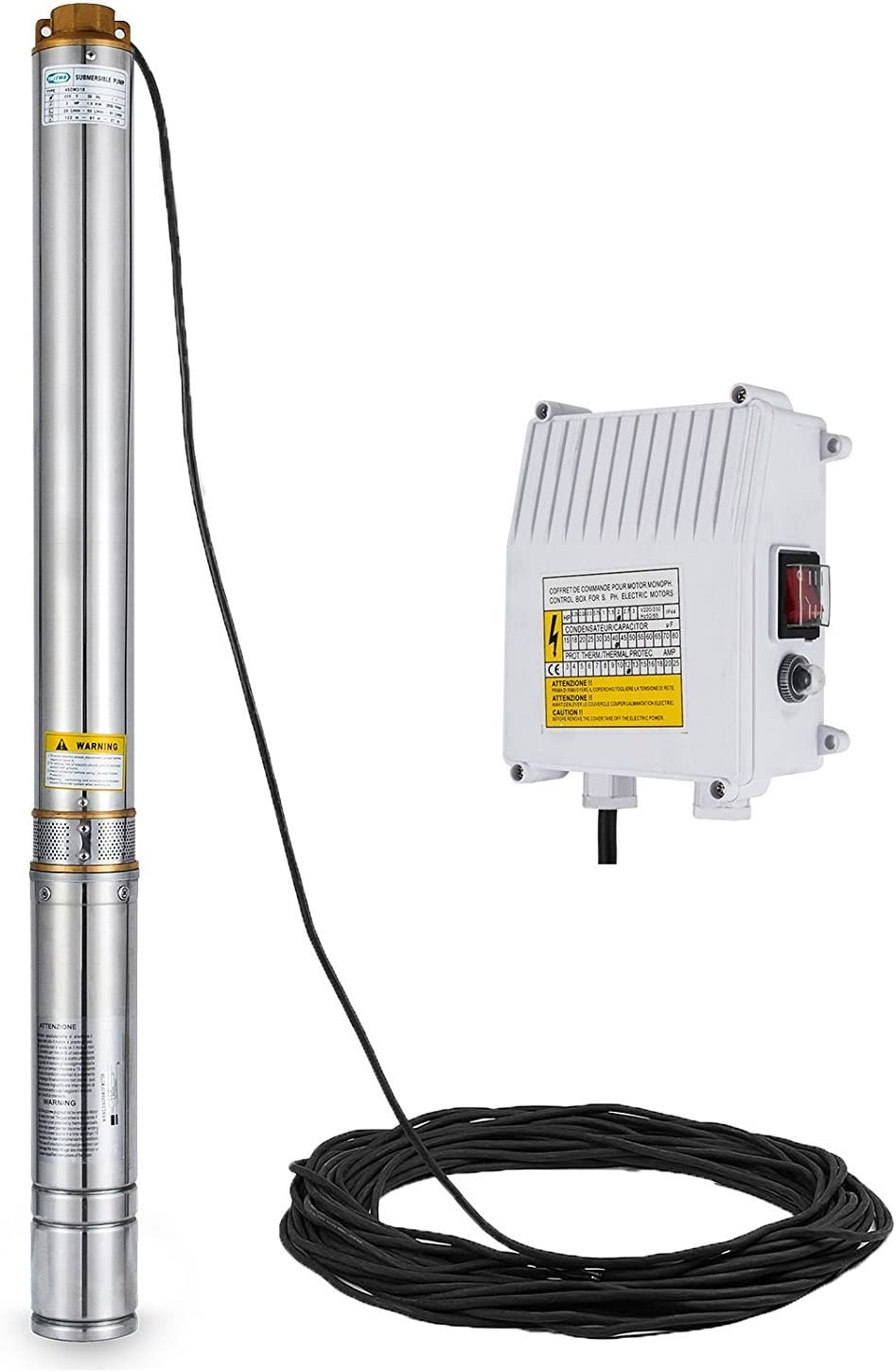 0.55KW 0.75HP MosaicAL Submersible Deep Well Pump 4SDM3//10 Stainless Steel 0.75hp Electric Water Pump