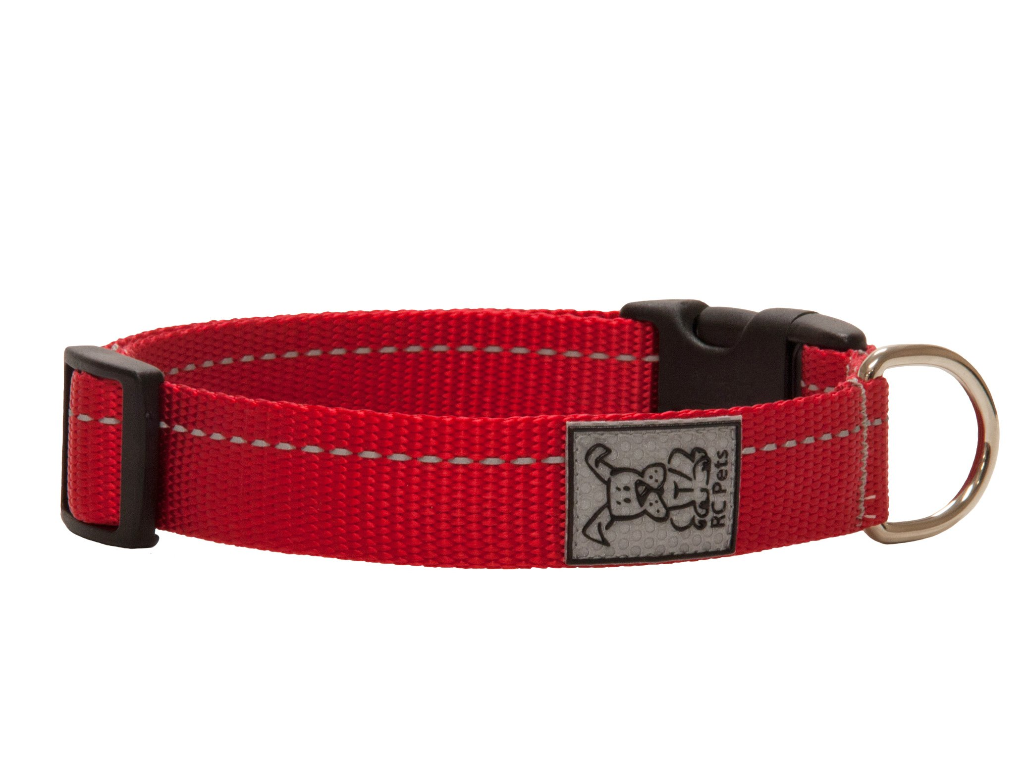 RC Pet Products 1 Inch Primary Collection Adjustable Dog Collar, Medium, Red