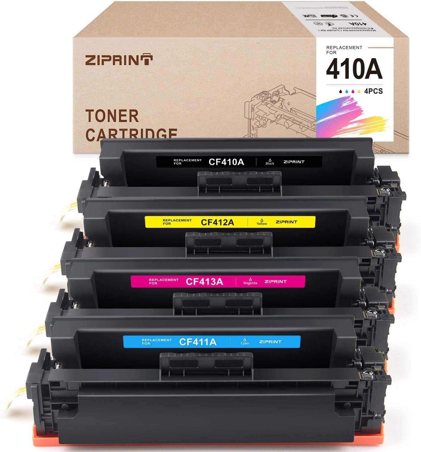 ZIPRINT Compatible Toner Cartridge Replacement for HP CF410A 410A CF410X 410X for HP Color Laserjet Pro MFP M477fnw M477fdw M477fdn Pro M452dn M452nw M452dw M377dw Printer CF410A CF411A CF412A CF413A