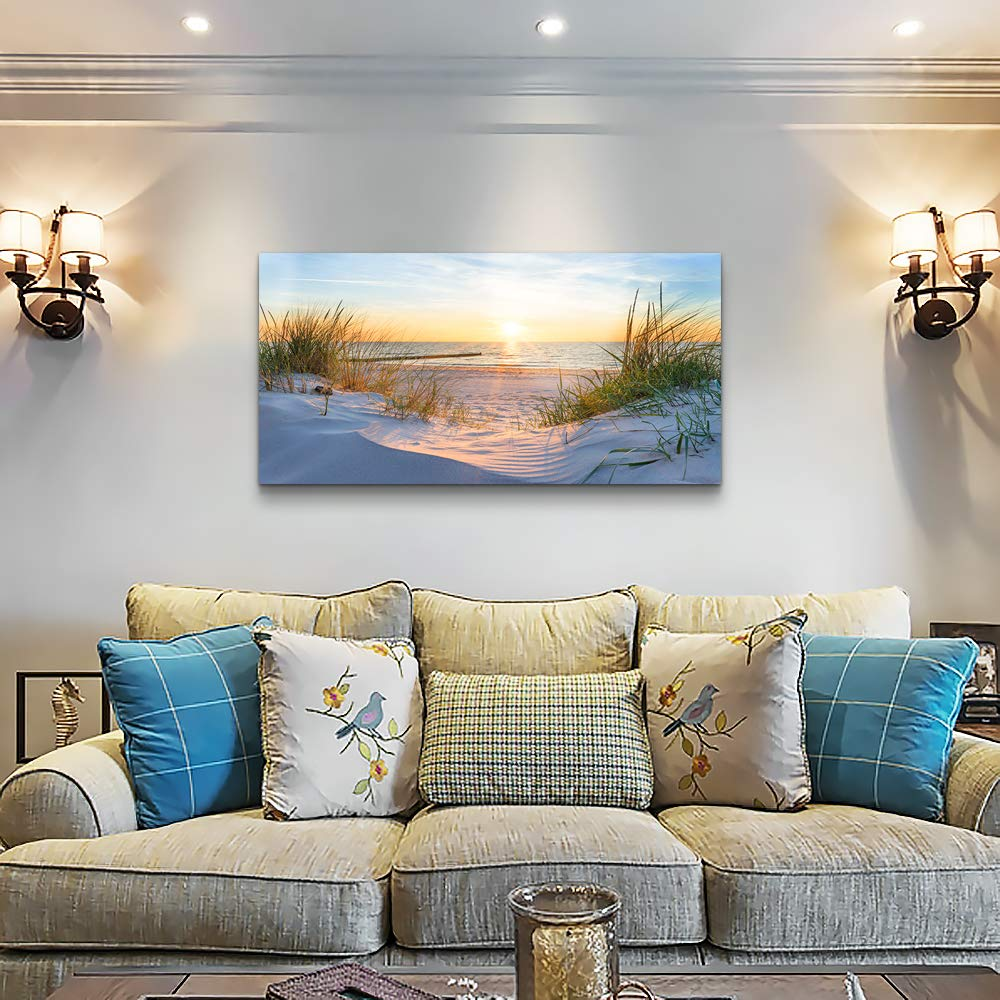 Wall Art for living room Print Artwork Wall Art Decor Poster Blue sun beach grass ocean Landscape painting bedroom bathroom Decorations Seascape Canvas Prints Picture Home Office wall Decor Works by MHART66 (Image #3)