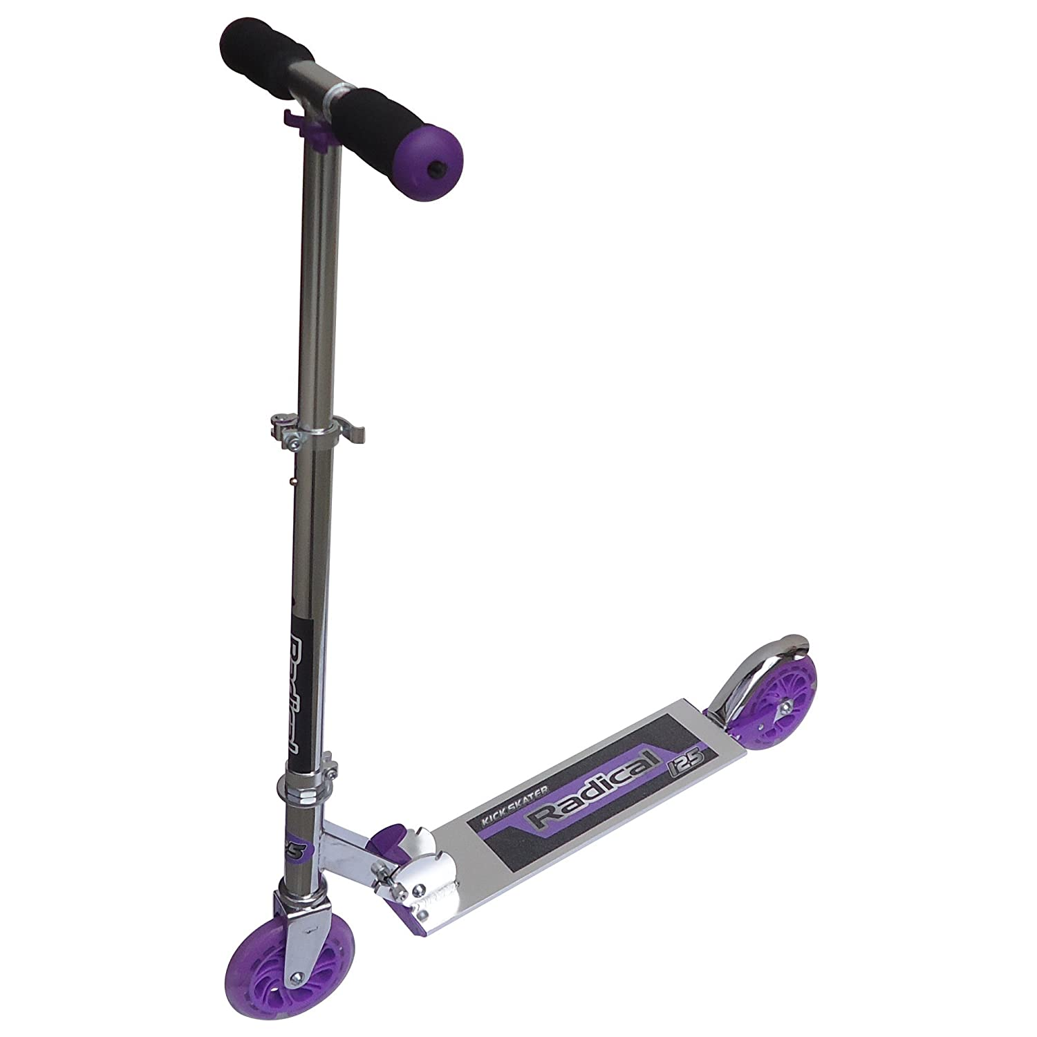 Radical Height Adjustable Light Up Wheels Kick Scooter, Easy to Fold, Color : Purple