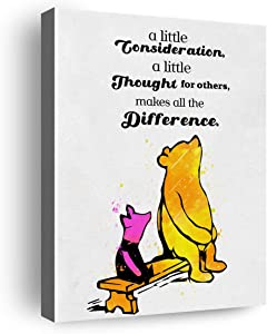 Winnie The Pooh Quote Classic Poster Canvas Wall Art & Tabletop Decoration,Easel & Hanging Hook 8x10Inch,Pooh Quotes Wall Decor Canvas Prints Gifts for Home Kids Room Nursery Bedroom Playroom Decor