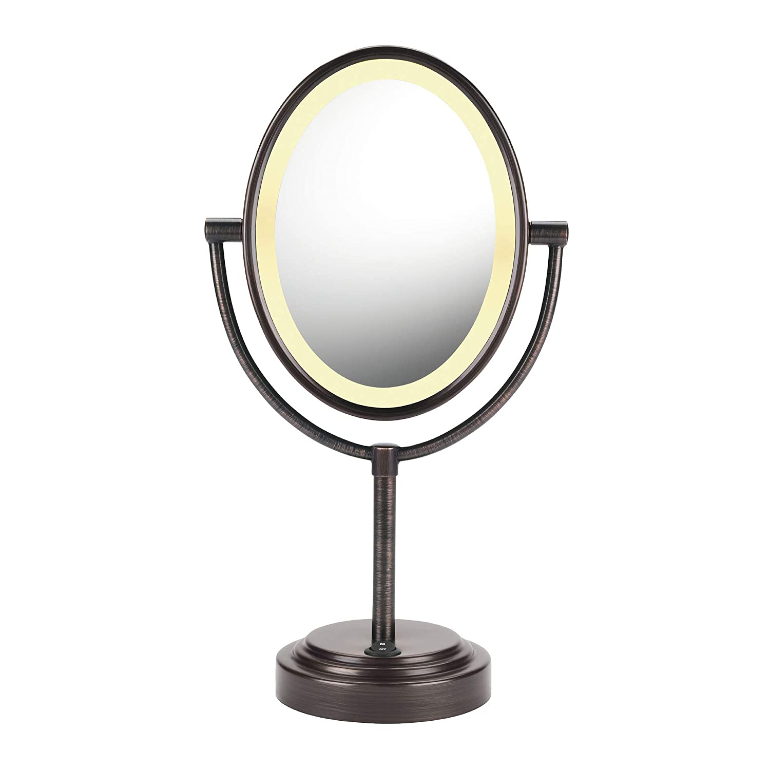 Amazon Com Conair Reflections Double Sided Lighted Vanity Makeup Mirror 1x 7x Magnification Oiled Bronze Personal Makeup Mirrors Appliances