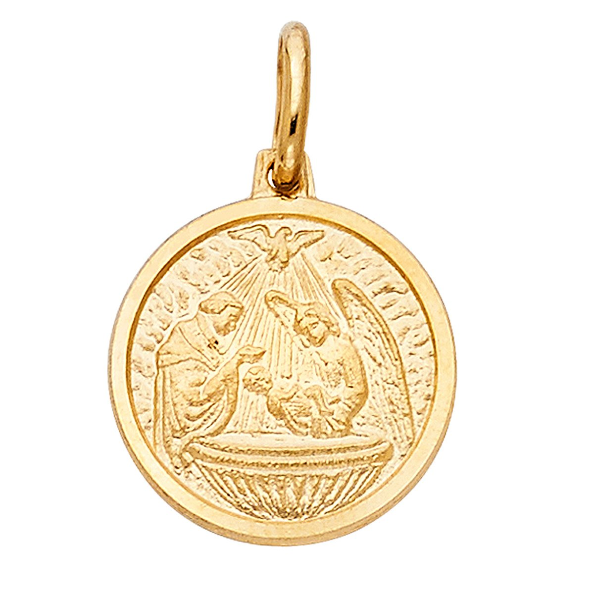 Top Gold & Diamond Jewelry TGDJ 14K Yellow Gold Baptism Religious Pendant - Avg. Weight 2 grams/Height 16 MM Width 15 MM