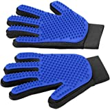 [Upgrade Version] Pet Grooming Glove - Gentle Deshedding Brush Glove - Efficient Pet Hair Remover Mitt - Massage Tool with Enhanced Five Finger Design - Perfect for Dogs & Cats with Long & Short Fur