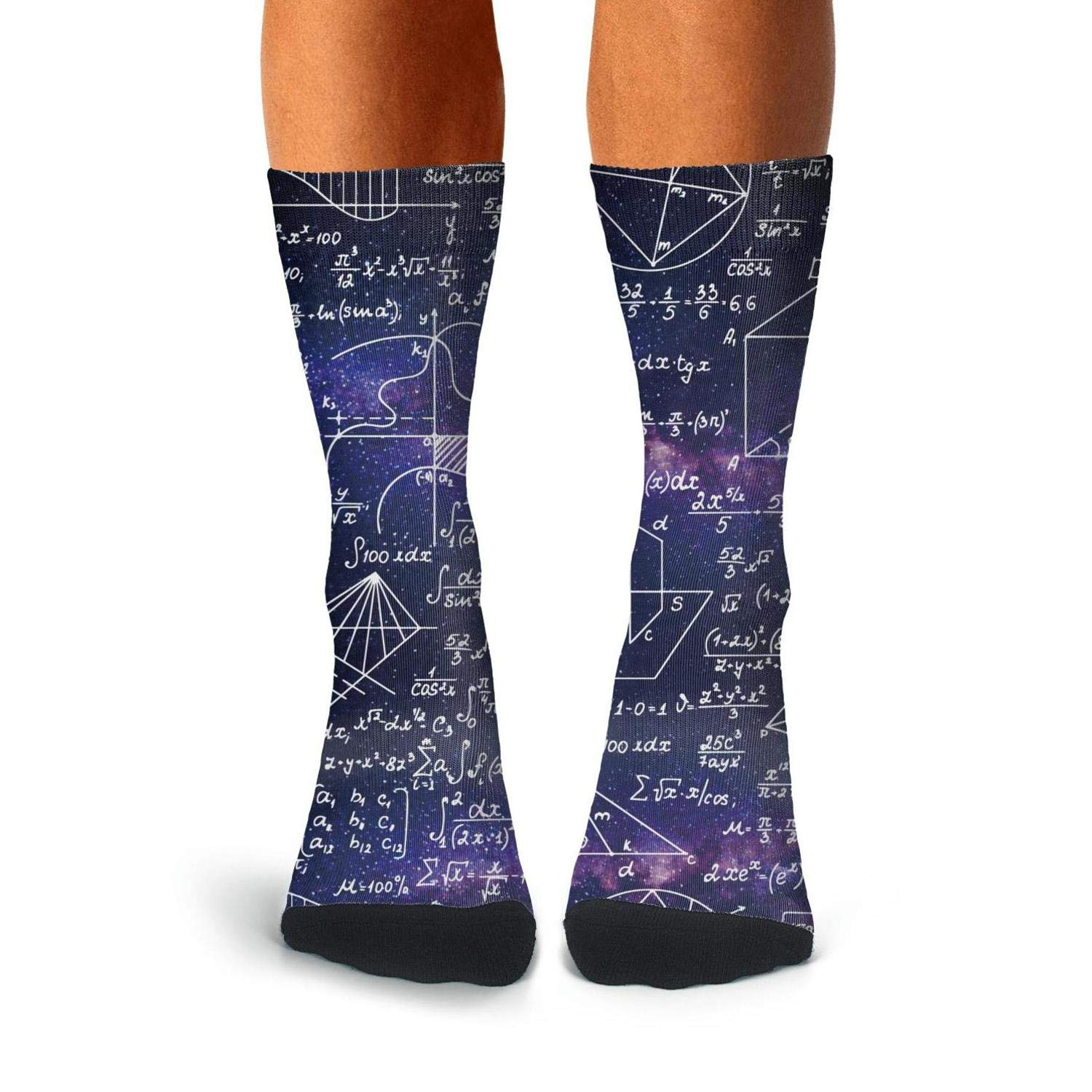 Math Class Formula Equations Black Backdrop Performance Sports Non-Slid High Ankle Socks for men