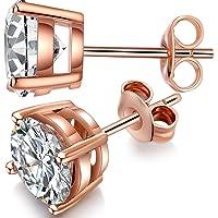 ZowBinBin Stud Earrings Sterling Silver Round Cut Cubic Zirconia Stud Earrings 4-8mm Available Fake Diamond Stud Earrings Men Ears Earrings Comfort and Simple CZ Stud Earrings,Silver Post Earrings for Women,Girls