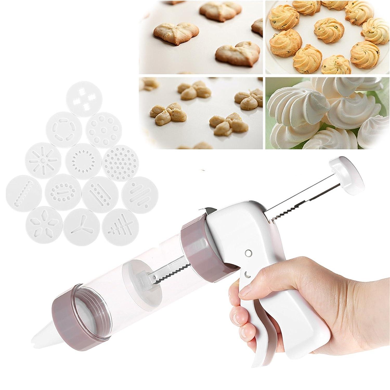 LaceDaisy Cookie-Keks Presse & Kuchen-Zuckerglasur-Set Kekse-Presse-Maschine-Kü che-Werkzeug-Kuchen mit 6 Spritzdü sen & 13 Ausstechformen
