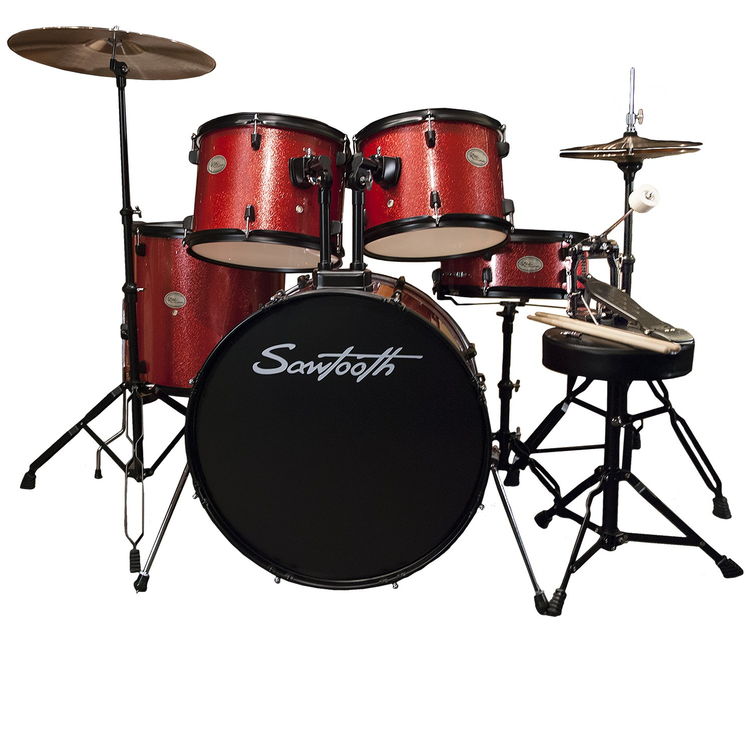 Rise by Sawtooth Full Size Student Drum Set with Hardware and Cymbals, Storm Blue Sparkle GO-DPS ST-RISE-DS-BS