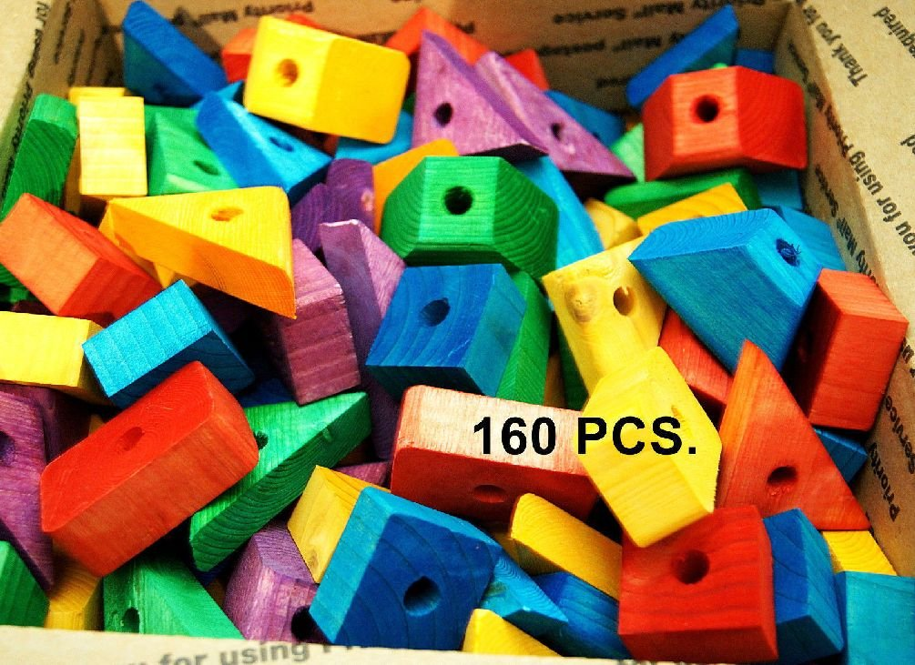 Colored Wooden Wood Blocks For Bird Parrot Toy Parts Macaw African Grey Amazon
