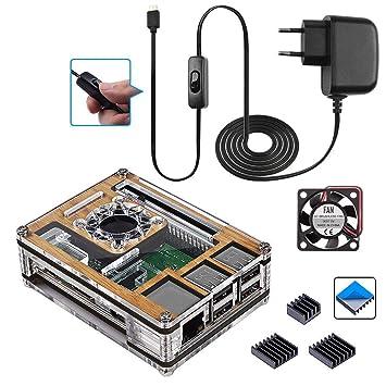 Para Raspberry Pi 3 b+ Caja de Grano de Madera + 5V 3A Cargador con Conector ON / OFF + 3 x Disipador + Ventilador Compatible con Raspberry Pi 3 2 ...