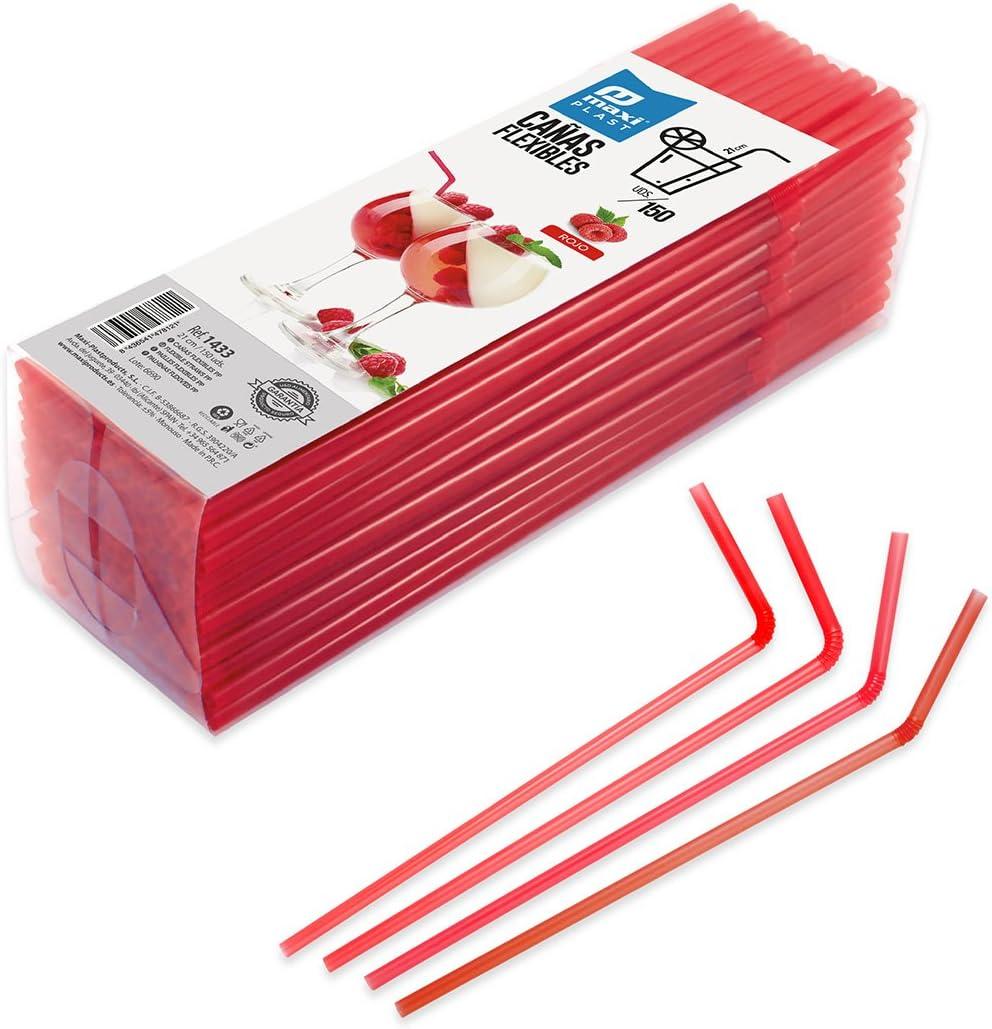 Pajitas de Plástico Flexibles para fiestas y celebraciones - Color Rojo - 150 unidades.