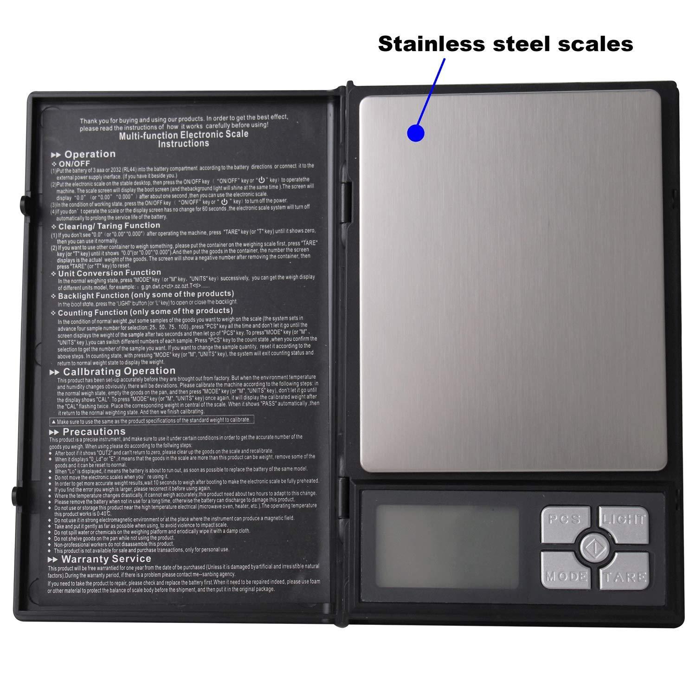 8b850bbcfabd NVTED Notebook Digital Scale, 2000g in 0.1g Stainless Steel Digital ...