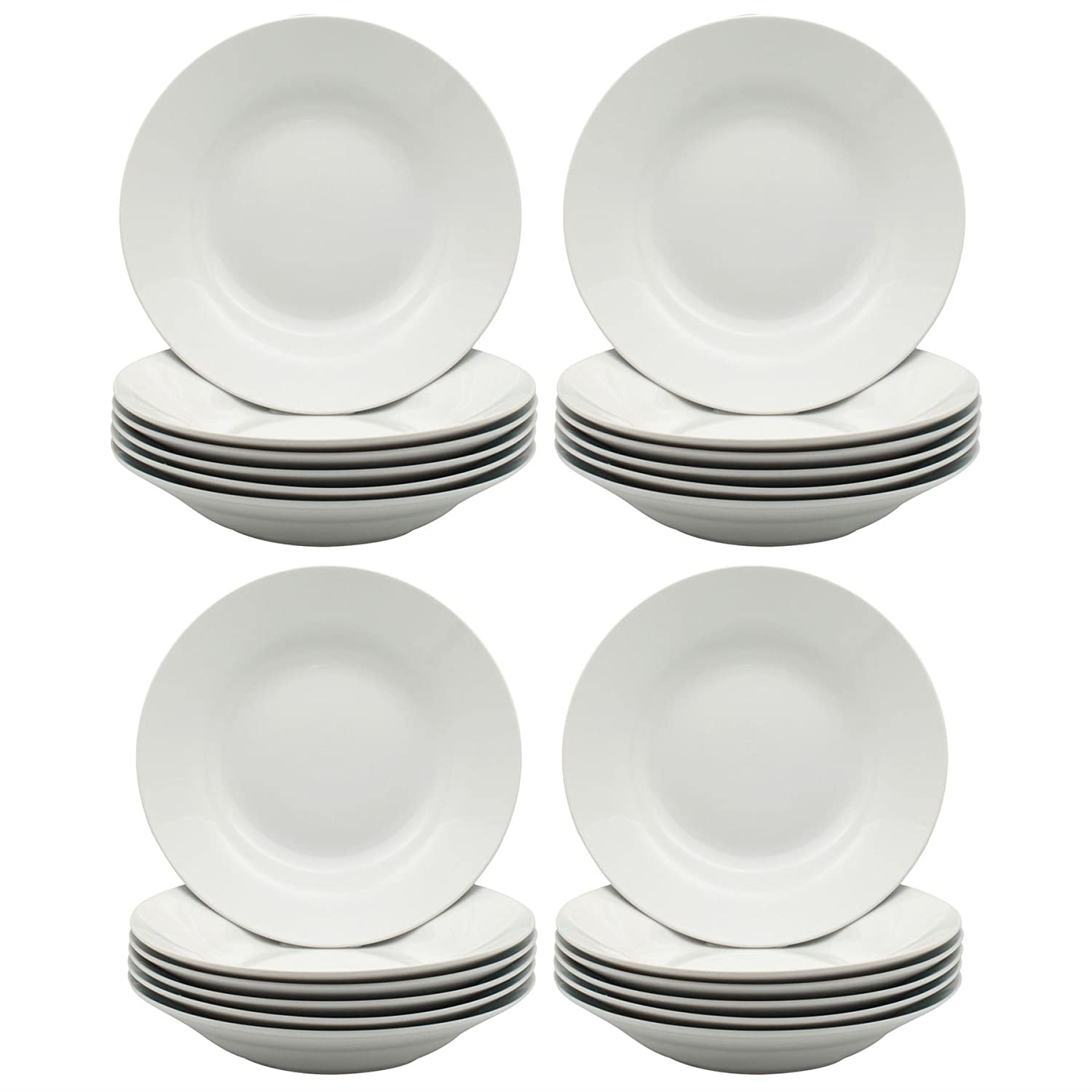Argon Tableware White Rimmed Soup/Pasta / Cereal/Bowls - 230mm (9