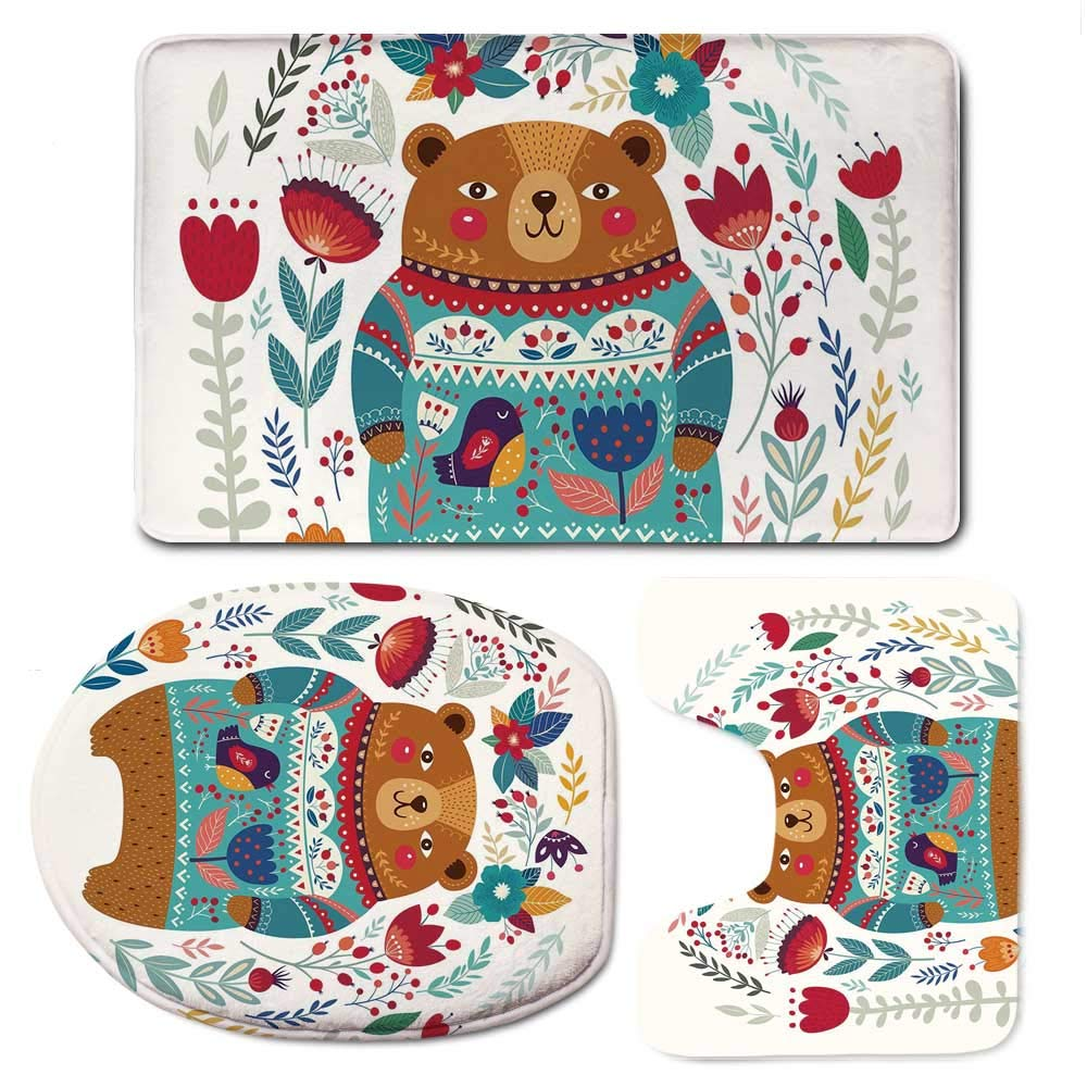 YOLIYANA Bear Vaurious Comfortable Bathroom 3 Piece Mat Set,Adorable Cartoon Figure with Flowers and Leaves Spring Inspired Botanical Composition for Office,F:20'' W x31 H,O:14'' Wx18 H,U:20'' Wx16 H
