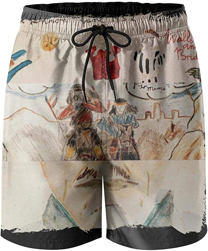 Mens Beach Shorts Classic Music Swimming Trunks Jogging Vacation Surfing Board