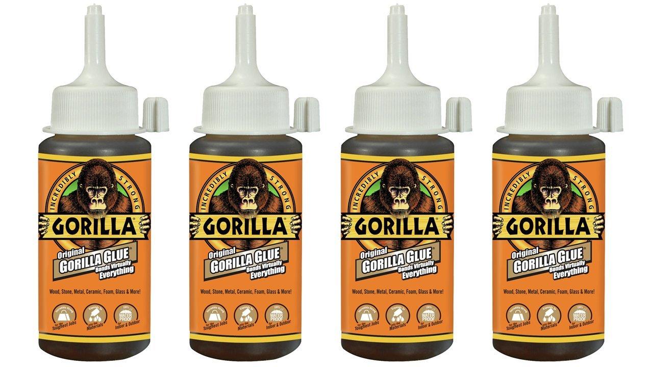 Gorilla 5000405 Original Glue (4 Pack), 4 oz, Brown