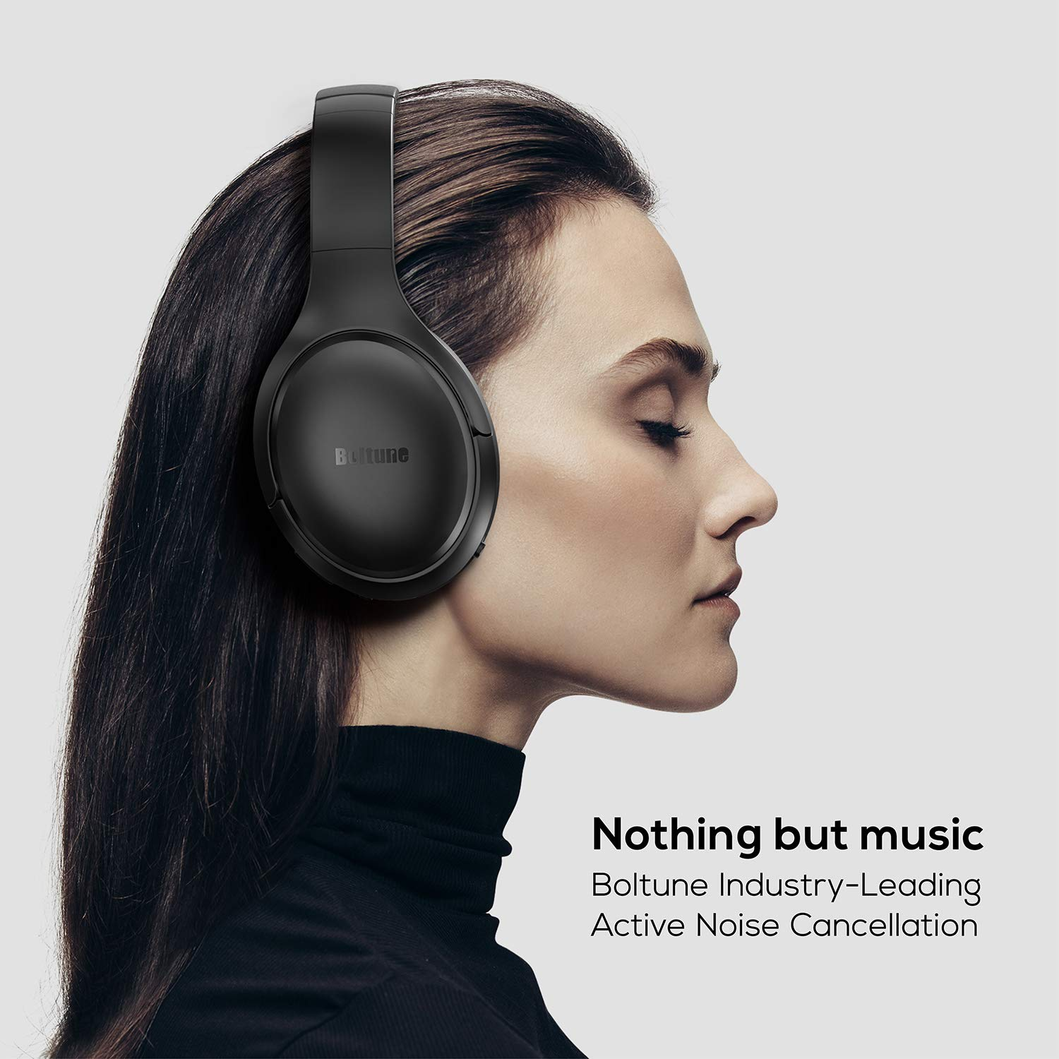 Active Noise Cancelling Headphones, Boltune Bluetooth 5.0 Over Ear Wireless Headphones with Mic Deep Bass, Comfortable Protein Earpads 30H Playtime for Travel Work TV PC Cellphone by Boltune (Image #3)