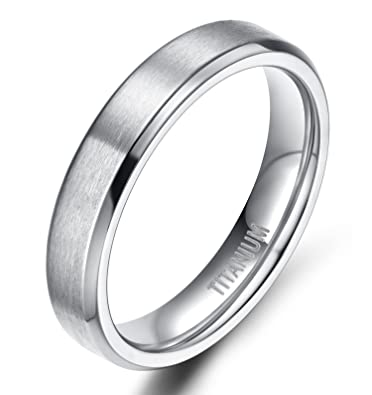 TIGRADE Unisex 4MM Titanium Brushed Finish Beveled Edge Classy Rings Wedding Band Size 4