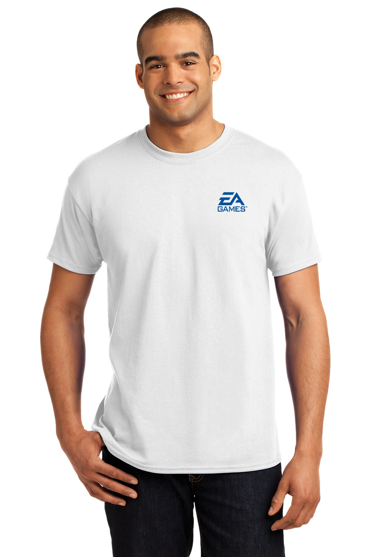Hanes Cotton & Polyester EcoSmart Men's T-Shirt - 24 Qty - Promotional Product - Imprinted With Your Company Name, Logo or Message (White)