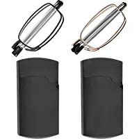 Reading Glasses 2 Pair Black and Gunmetal Readers Compact Folding Unisex Glasses for Reading Case Included