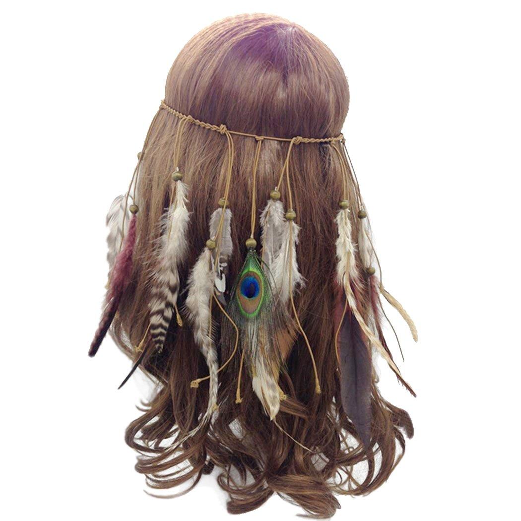 Faylapa Fascia per capelli in stile principessa indiana, con piume di pavone e nappe alla moda, per donne e ragazze grigio Gray