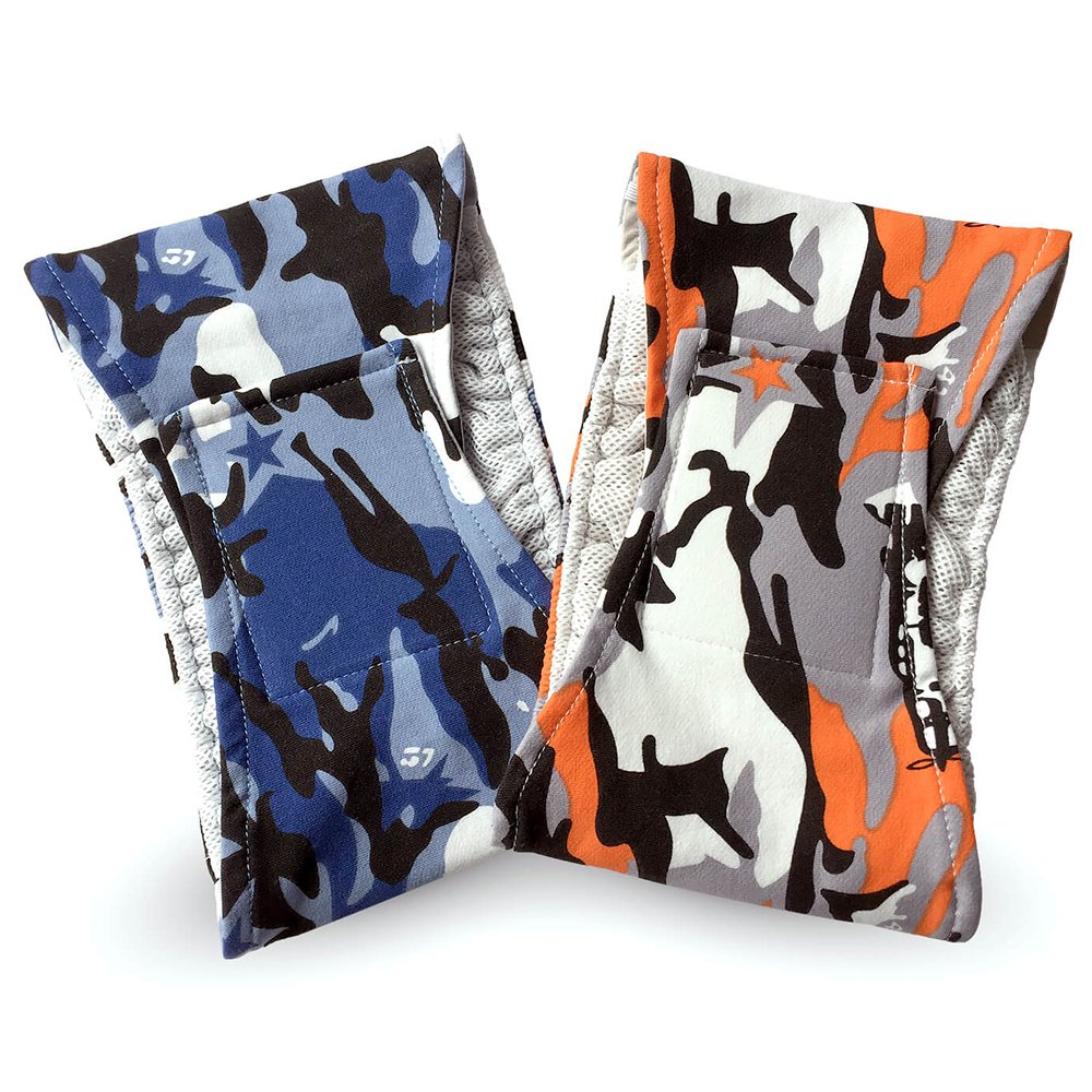 Triumilynn Washable Male Dog Diapers 2 Pack, Eco-Friendly Reusable Dog Wraps with Soft Breathable Mesh and Secure Velcro, Durable for Male Dogs, Camouflage Texture Orange and Blue