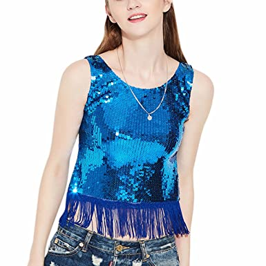 b64e99791d1c87 Women All Over Sequin Sparkle Vest Tank Top