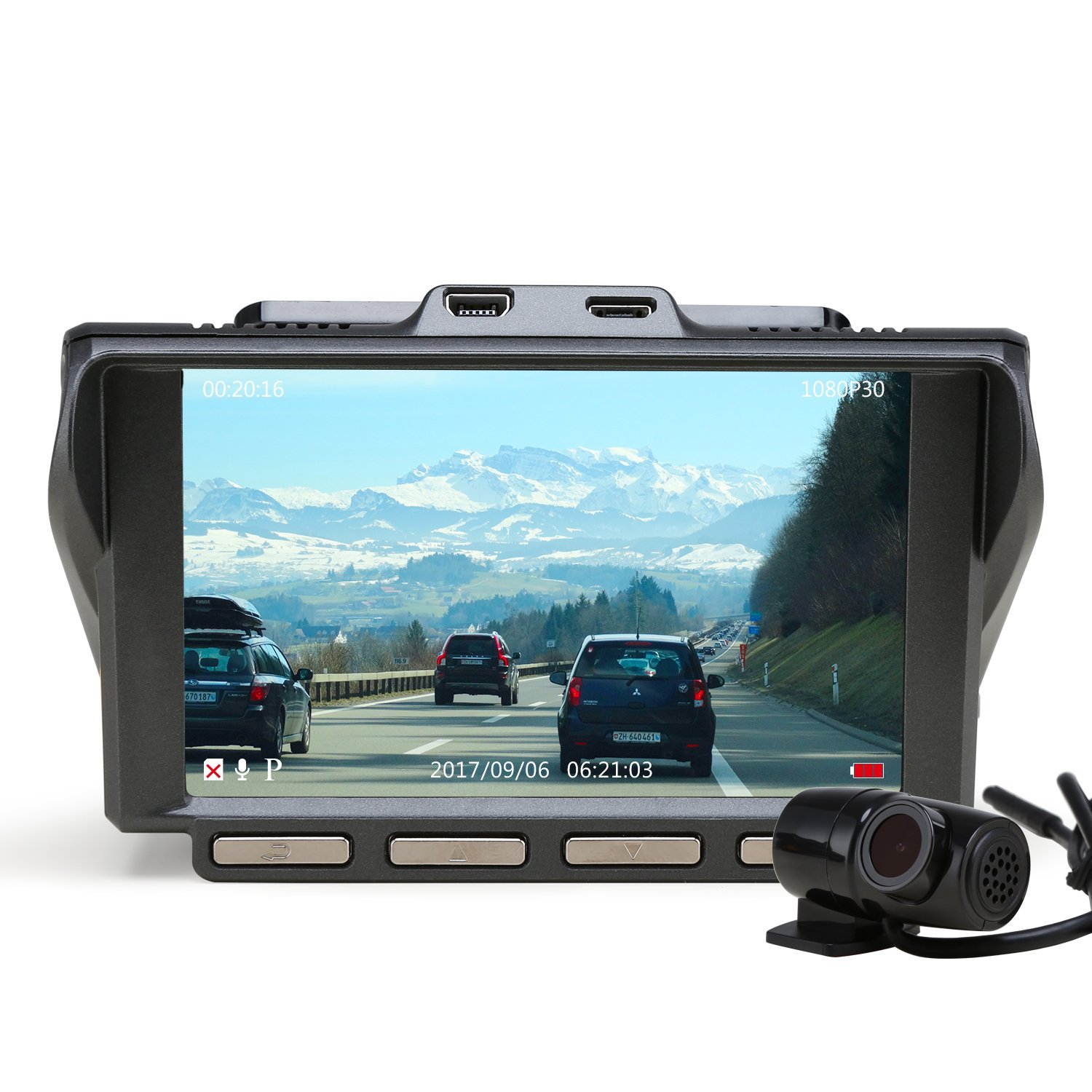 Z-EDGE S4 Dual Dash Cam, 4.0 Inch IPS Ultra HD 1440P Front & 1080P Rear 150° Wide Angle Lens Dashboard Camera Recorder, 360° Rotated Rear View Camera with Night Mode, WDR and 32GB Card Included by Z-EDGE