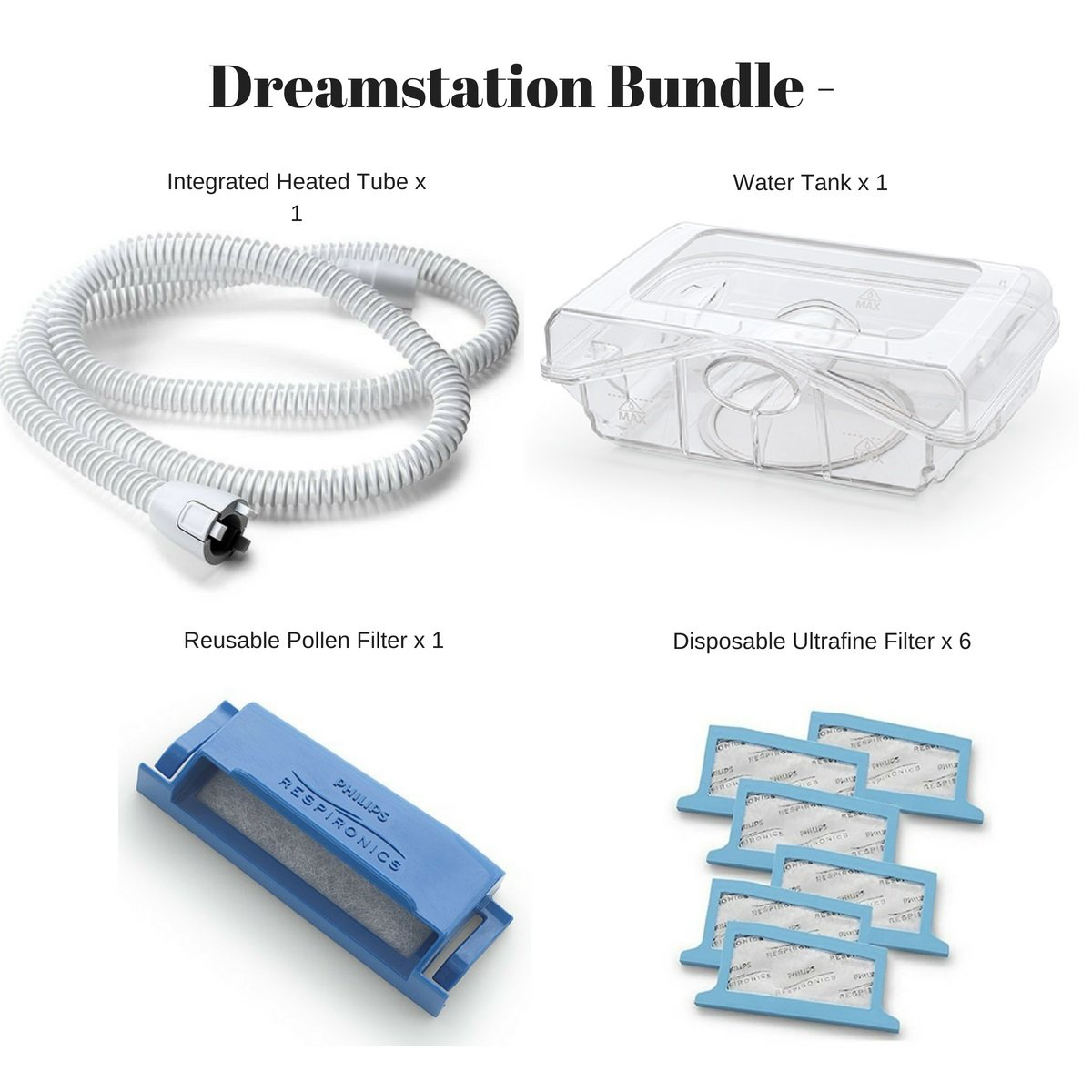 Philips Respironics Dreamstation Cpap & BIPAP Supplies Bundle - Includes Heated Tube (Qty-1)/Water Tank (Qty-1)/Reusable Pollen Filter(Qty-1)/Disposable Ultra Fine Filters(Qty-6)