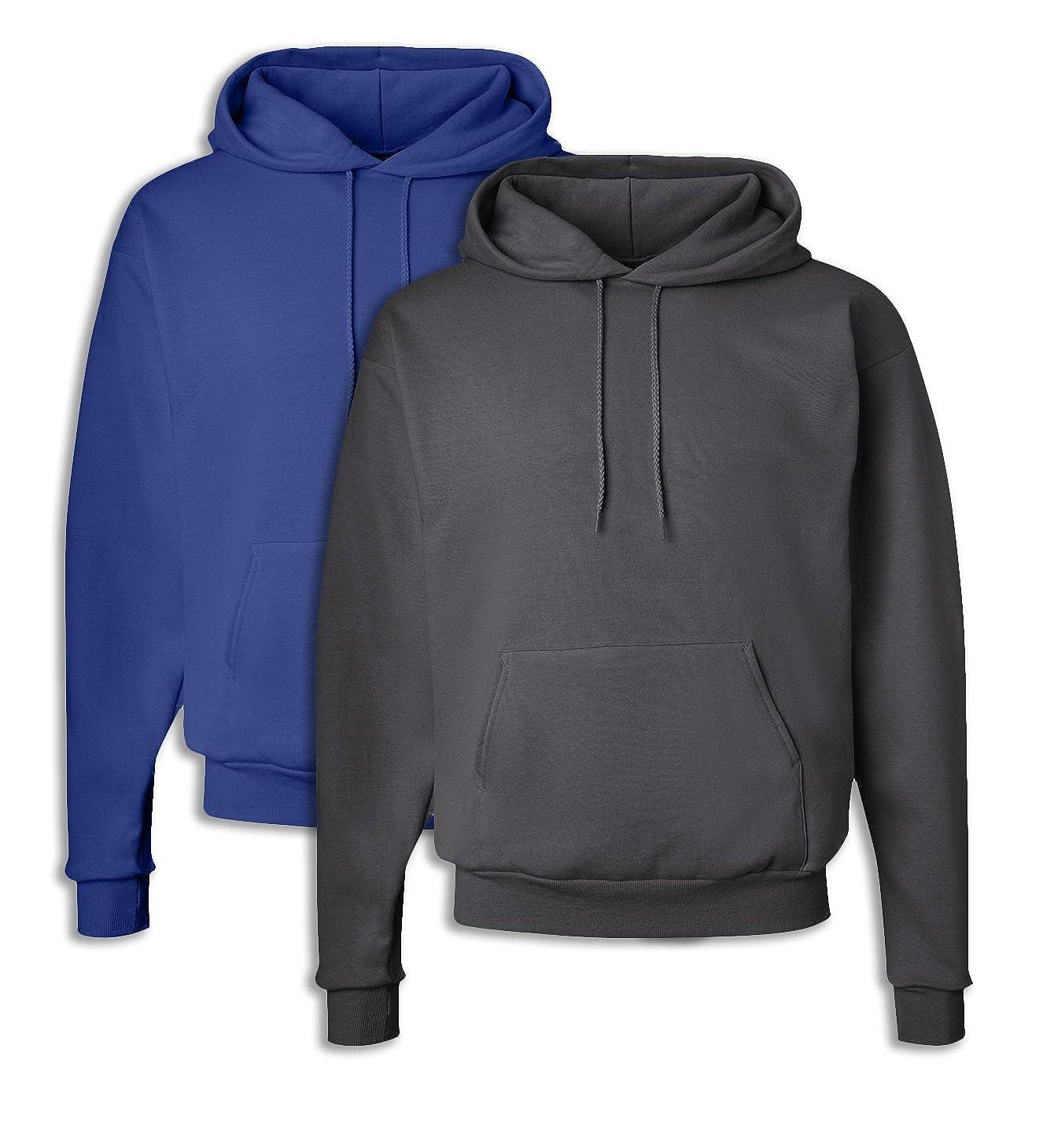 Hanes P170 Mens EcoSmart Hooded Sweatshirt 2XL 1 Deep Royal 1 Smoke Grey