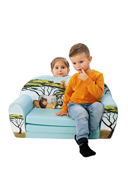 DELSIT universelles Kindersofa zum zum zum Ausklappen Ausklappbare Kinder Sofa Kindermöbel für Jungen und Mädchen DSCHUNGEL Grün ddf201