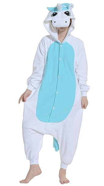 Fandecie Pijama Unicornio Azul, Onesie Modelo Animales para adulto entre 1,60 y 1