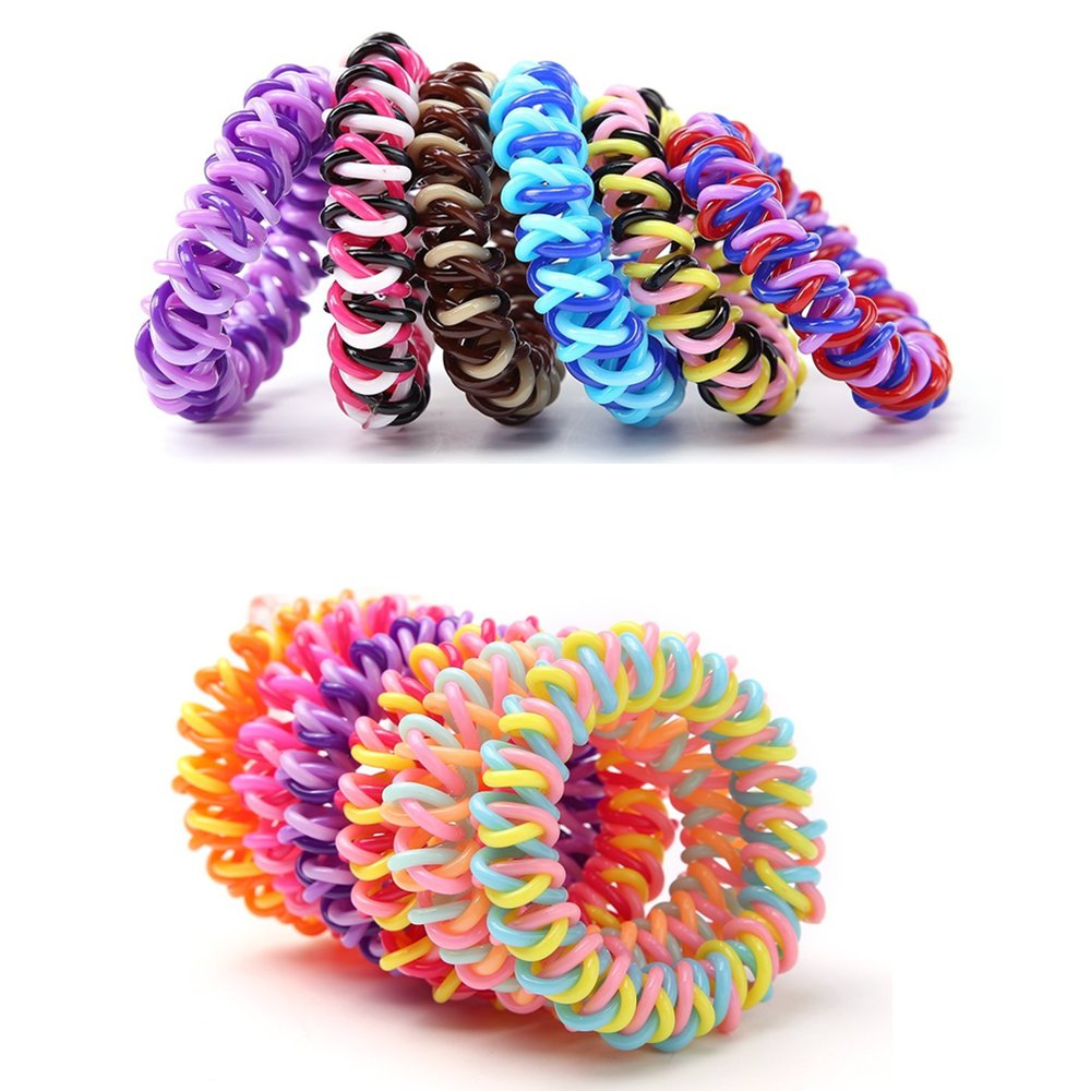 20Pcs Spiral Hair Ties Plastic Elastics Hair Ties No Crease Coil Hair Ties telephone cord hair ties Ponytail Holder For Women Girls (Multi-Colors)