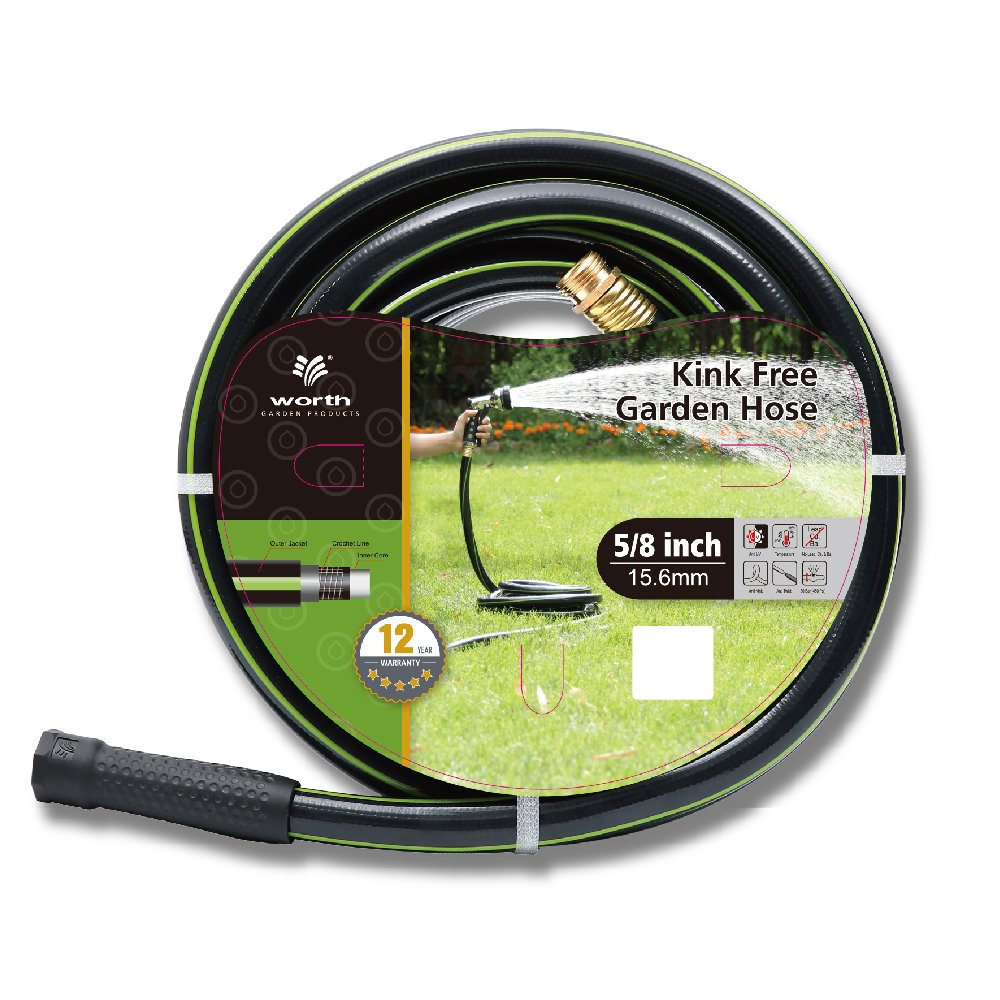 Worth Garden 5/8'' x 50' (50 FEET) KINK FREE Watering GARDEN HOSE, 12 YEARS WARRANTY - BEST HOSE for HOUSEHOLD & PROFESSIONAL USE