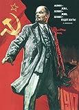 Vintage Russian Soviet Union Propaganda LENIN LIVED, LENIN LIVES AND LENIN WILL GO ON LIVING! c1960's 250gsm Gloss Art Card A3 Reproduction Poster