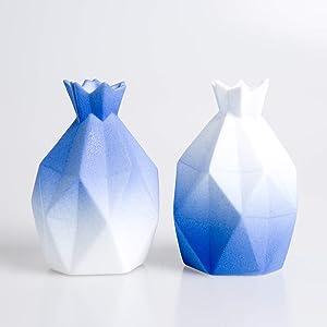 Skagele White Blue Small Vases Two Vase Gift wrap Modern Home Decor Vase Bookshelf Office Table Bedroom Vase Decoration