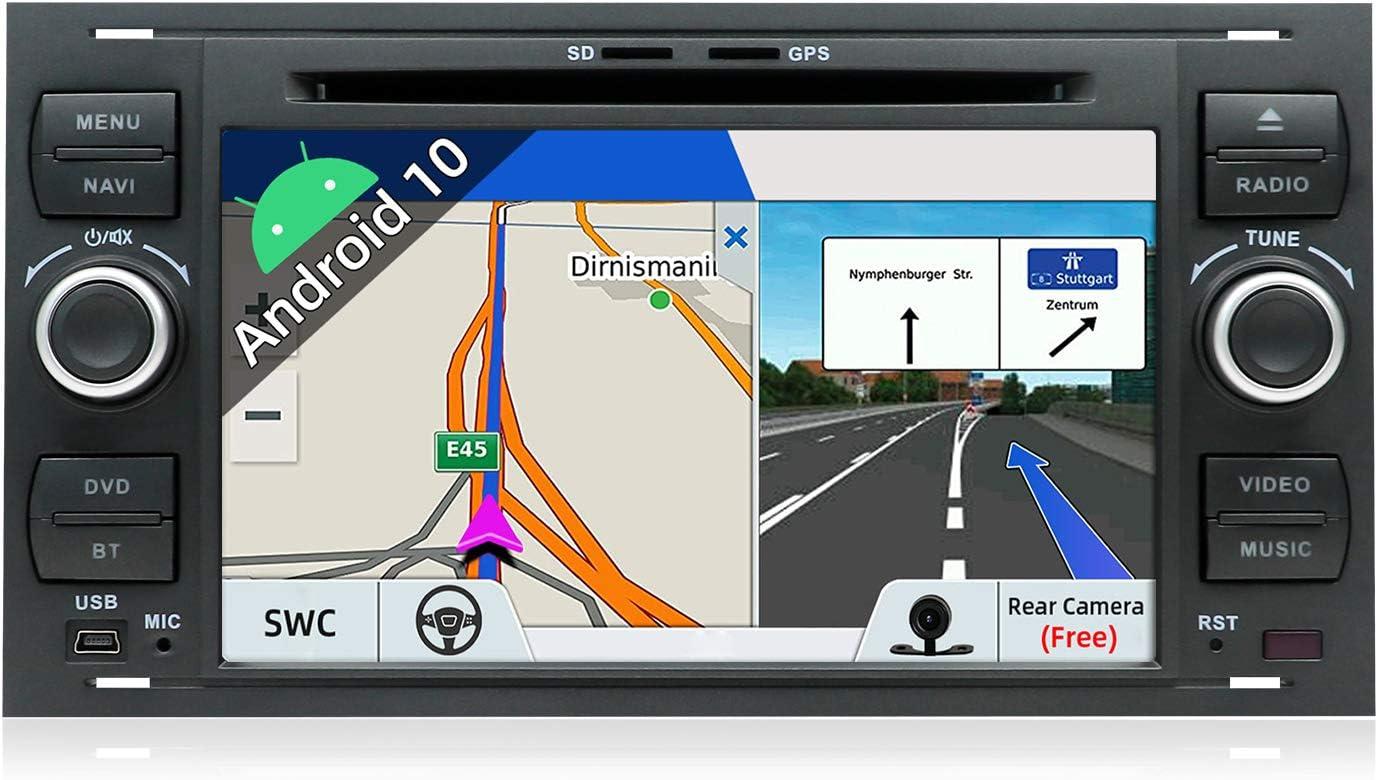 JOYX Android 10.0 - 2 Din Autoradio Compatible para Ford C-Max/Connect/Fiesta/Focus/Fusion/Galaxy/Kuga/S-Max/Transit/Mondeo Schwarz GPS Navegación | LIBRE Cámara trasera Canbus | 7 pulgadas 2G+32G |