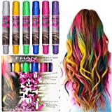 SOOKOO 6 Color Hair Chalk Set, Metallic Glitter Temporary Hair Color, No Mess, Built in Sealant, Works on All Hair Colors, 6 Count
