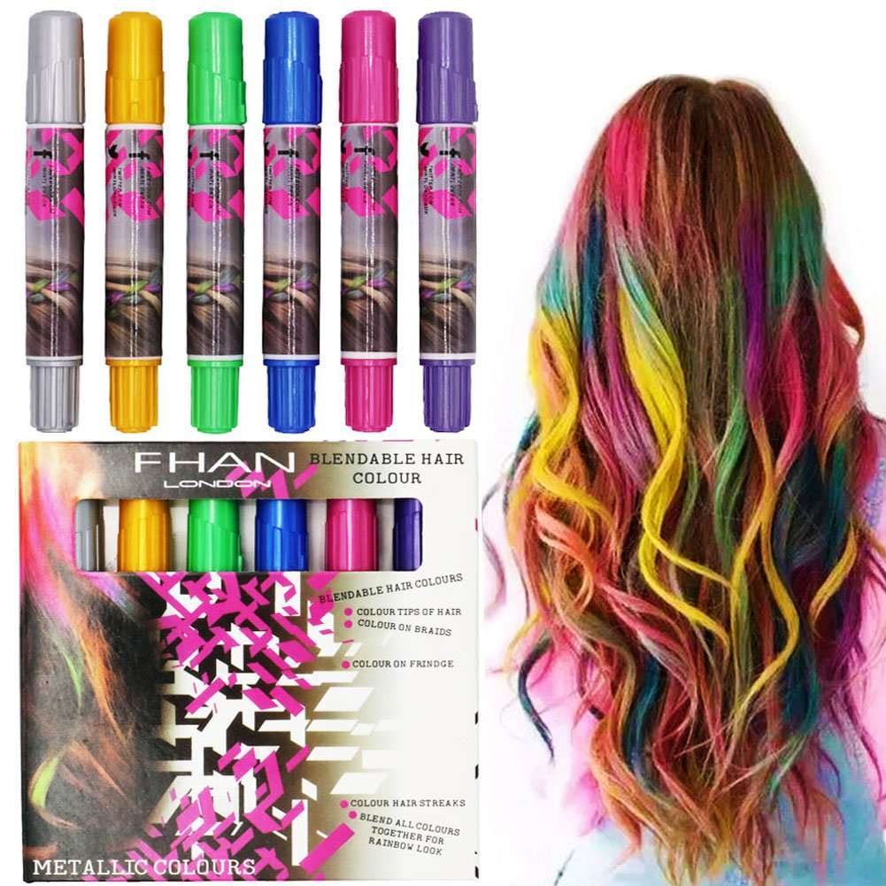 SOOKOO 6 Color Hair Chalk Set, Metallic Glitter Temporary Hair Color, No Mess, Built in Sealant, Works on All Hair Colors, 6 Count by SooKoo (Image #1)