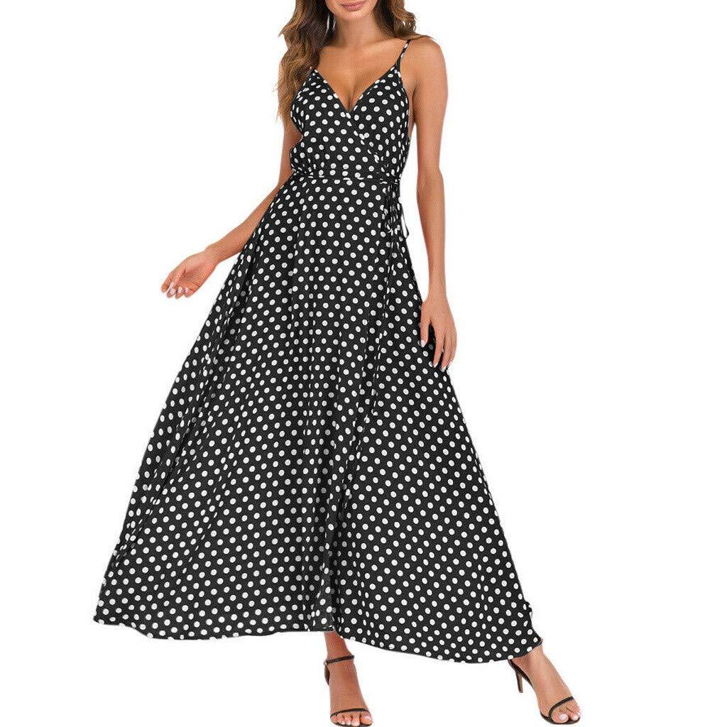 V-Neck Dress ❀Vine_MINMI❀ Sling Bodycon Dresses Beach Polka Dot Beach Dresses Women's Gown Printed Summer Dress Black by Vine_MINMI Dress