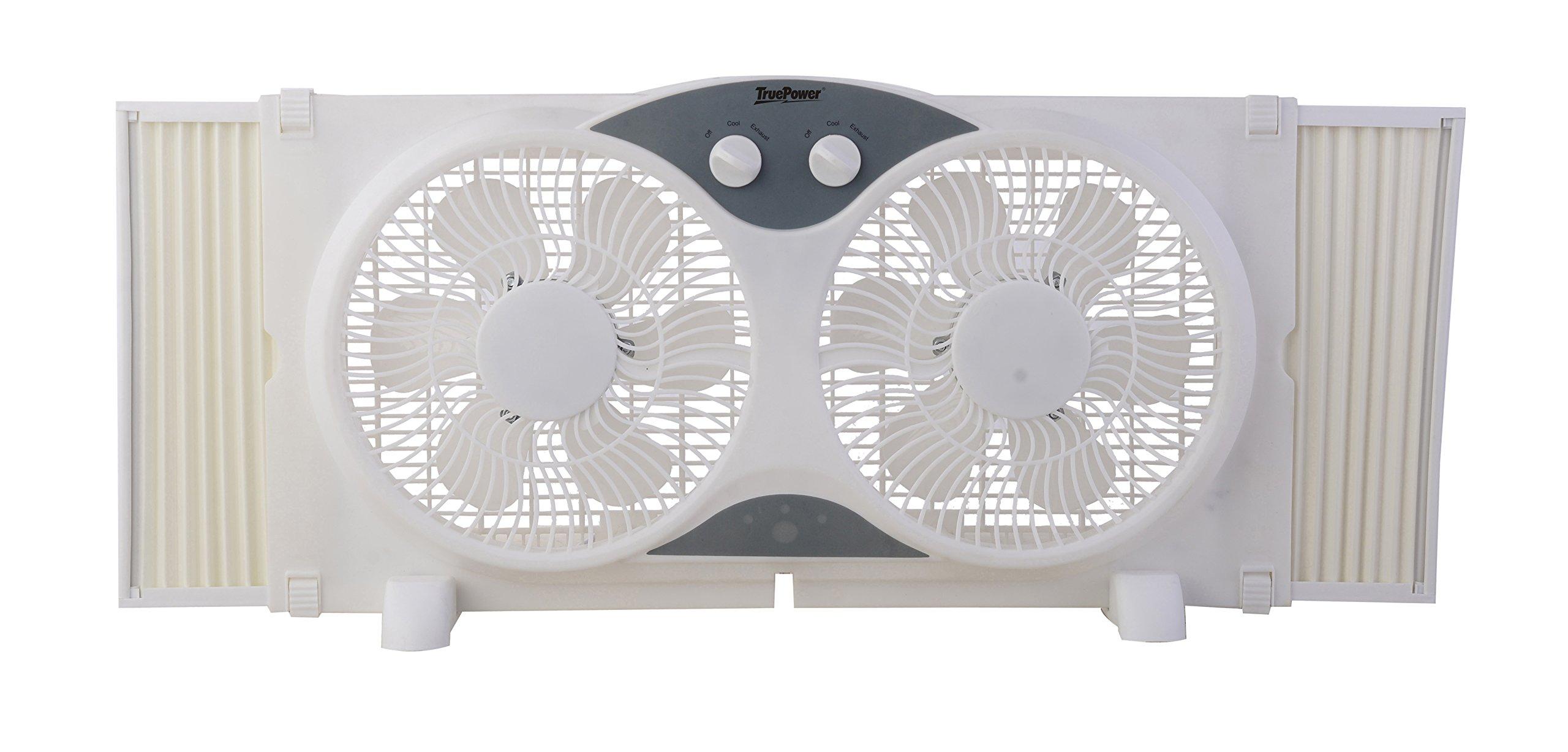 TruePower Portable Twin 9'' Reversible Window Fan by TruePower