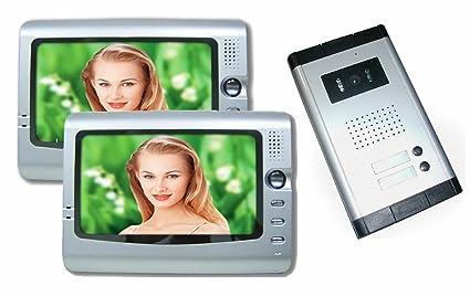 Videocitofono bifamiliare con video e foto telecamera led 2 monitor 7 pollici
